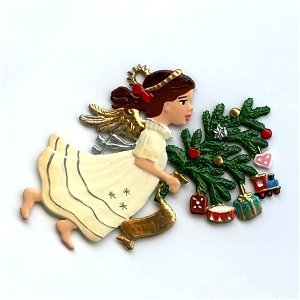 Pewter Angels Ornaments (Angel With Tree - German Pewter Christmas Ornament)