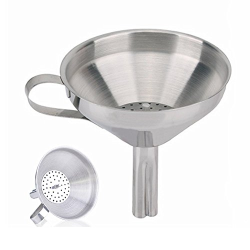 Stainless Steel Decanting Funnel - Tool Station Stainless Steel Funnel with Removable Detachable Strainer/Filter for Cooking,Flask Funnels for Essential Oils and Flask-Filling