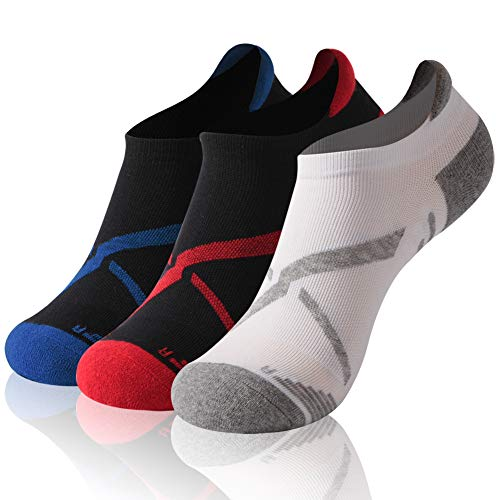 Golf Socks, Gmark Dri-Fit Tennis Cycling Men and Women Cushion Single Tab Running Comfort Ventilated Breathable Moisture Wicking Ankle Socks,3 Pairs Gray+Blue+red Large