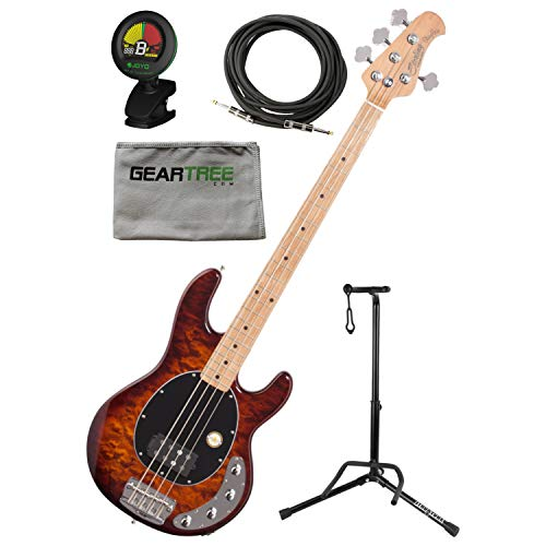 Sterling RAY34QM-ILB-M2 StingRay, Quilt Top, Island Burst 4 String Bass w/Gig B (Top String Bass Quilt Guitar)