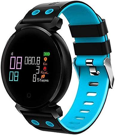 NBWE Pantalla Smart Watch K2 3D Pantalla a Color Pantalla Bluetooth Smart Watch, IP68 Impermeable, podómetro de Apoyo/Monitor de presión Arterial/Monitor de frecuencia cardíaca/Monitor de Sue Azul