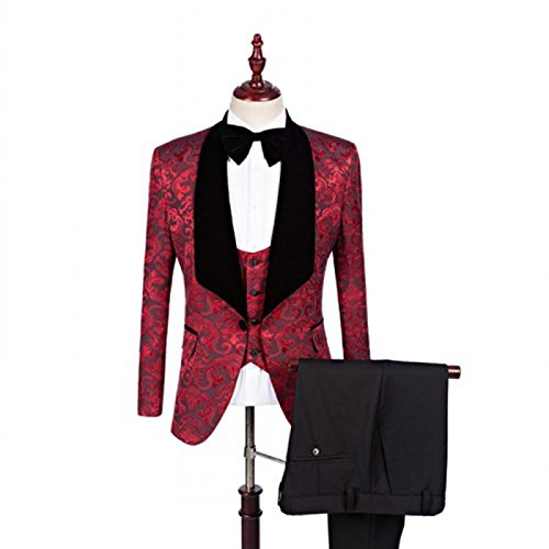 - Mens Causal Floral Weave 1 Button Slim Fit Tuxedos Dress Groomsmen Wedding Suits 3 Piece Sets Dark Red