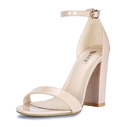 IDIFU Women's IN4 Cookie-HI Open Toe High Chunky Block Heel Pump Sandal (Nude Patent, 5 B(M) US) (Special Occasions Shoes Women For)