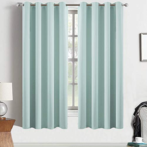 Yakamok Blackout Room Darkening Thermal Insulated Aqua Curtains for Bed Room,52x63-inch,2 Curtain Panels,Bonus 2 Tie Backs Included ()