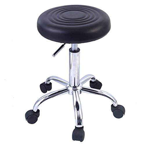 GHP 5-Wheeled Retro Style Salon Stool w Black PU Leather Seat & Metal Frame - Leather Polished Frame