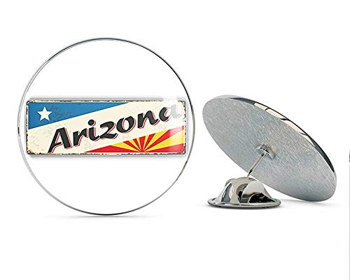 TG Graphics Arizona Grunge Retro Travel Tin Sign Art Round Metal Lapel Pins Cute Cool Hat Shirt Pin Tie Tack Pinback ()