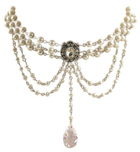 Edle 3-reihige Trachtenschmuck Kristall Perlen Kropfkette - Antik Stil - silberfarben antikisiert - Crystal klar