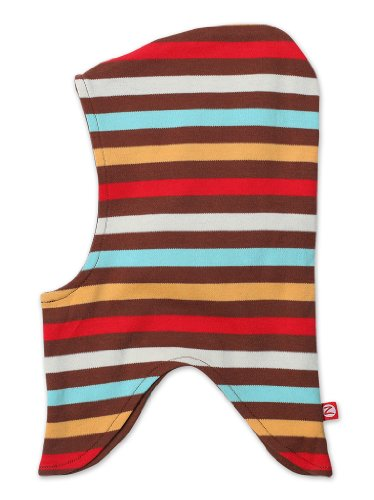Zutano Little Boys' Color Stripe Gnome Hat, Chocolate/Orange/Aqua/Red, Medium