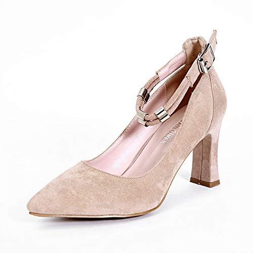 HRCxue High Heels Simple Word Fashion Wildleder High Heels dick mit Spitze Damen Schuhe