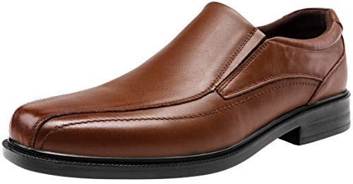 JOUSEN Men's Dress Shoes Leather Slip On Loafers Lightweight Formal Shoes (13D(M) US, Brown)