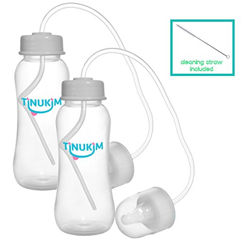 Tinukim Hands Free Baby Bottle – Anti-Colic Nursing System, 9 Ounce (Set of 2 - Grey Blue) from Tinukim