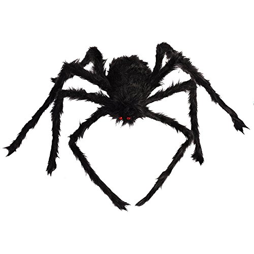 QBSM 50'' Large Giant Halloween Scary Spider, Yard Outdoor Decoration, Black Plush Fake Spiders, Indoor House Outside Decor Props ()