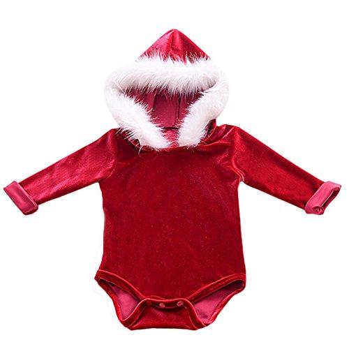 Bubble Wrap Jumpsuit Costume (IWEMEK Infant Baby Girls Christmas Santa Costume Long Sleeve One Piece Velvet Bodysuit Winter Fur Hooded Jumpsuit Romper Outfit Sweaters Dress)