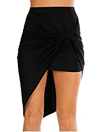 Womens Drape Up Stretchy Asymmetrical High Low Short Mini...