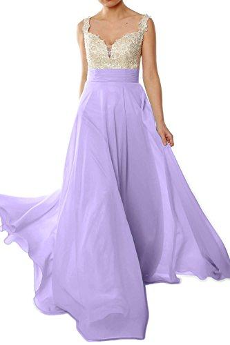 MACloth Women Straps Lace Chiffon Long Ball Gown Prom Formal Dress Wedding Party Lavanda