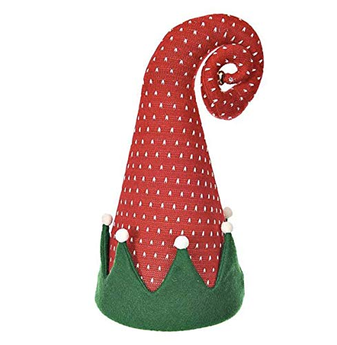 DermaPAD Red and Green Curly Elf Hat Christmas