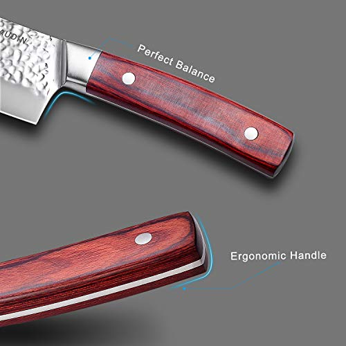 Santoku Knife 7 Inch, PAUDIN Pro kitchen knife High Carbon German Stainless Steel 7Cr17Mov Hammered Pattern, Sharp Knife with Ergonomic Pakka Wood Handle by PAUDIN (Image #3)