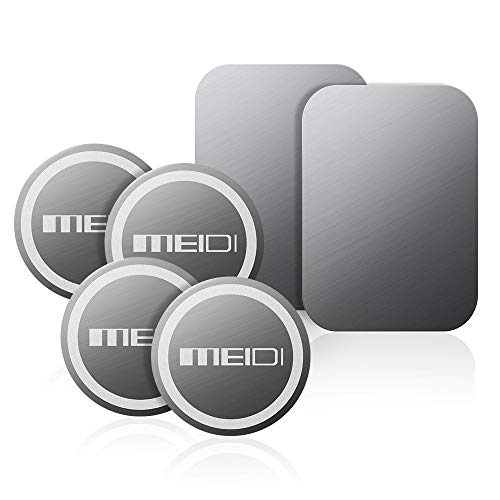 MEIDI Mount Metal Plate - 6 Pack Universal Metal Disc Replacement Kit Non-Marking 3M Adhesive Compatible with Cell Phone Magnetic Phone Car Mount (2 Rectangles, 4 Rounds)