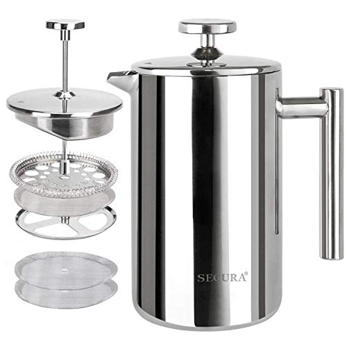 Secura French Press Coffee Maker, 304 Grade Stainless Steel Insulated Coffee Press with 2 Extra Screens, 17oz (0.5 Litre…