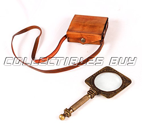 Antique Map Leather - Antique Hand Magnifying glass Marine Map Reader Lense With Leather Case Magnifier Vintage, 6 inch, brass