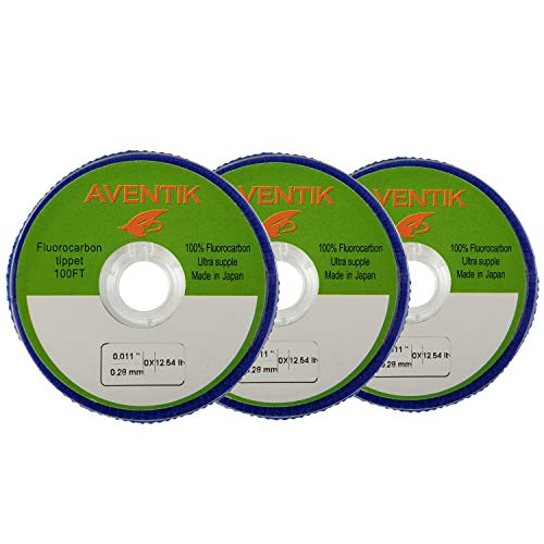 Aventik 3pcs/Lot 100% Fluorocarbon Tippet Super Strong, Supple, Fast Sinking, Invisible, Fly Fishing, Bass Fishing, Carp Fishing, Saltwater Fishing 30 Meter/Spool, 0X-6X (0X)