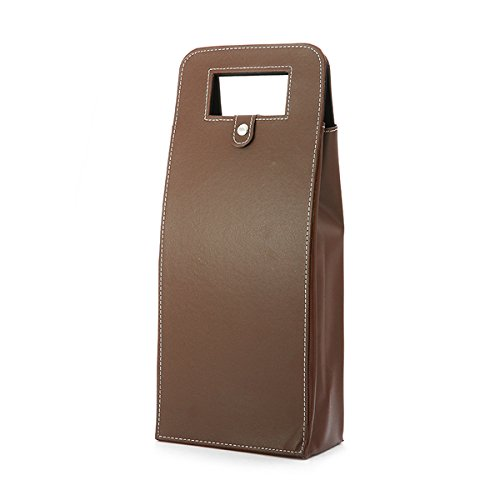 (Vivona KC-WG010 PU Leather Champagne Wine Bottle Gift Bag Travel Tote Carrier Holder Case Organizer - (Color:)