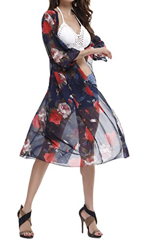 - Spmor Women's Chiffon Boho Kimono Cardigan Beach Cover Ups,one Size,12
