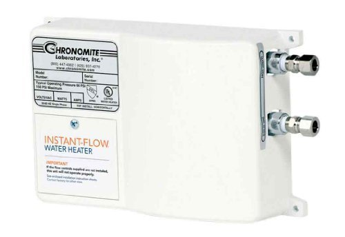 Tankless Heater Flow Controlled Water (Chronomite SR-20L/208 HTR 208-Volt 20-Amp SR Series Instant-Flow Low Flow Tankless Water Heater)