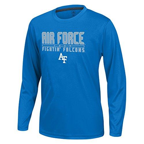 - J America NCAA Air Force Falcons Boys Youth School Slogan Long Sleeve Callout Poly Tee, Royal, Small