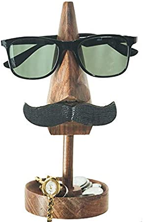 Handicrafzon Decorative Wooden Owl Spectacle Eyeglass Holder Stand Quirky Design Display Stand Home Decor Accessory