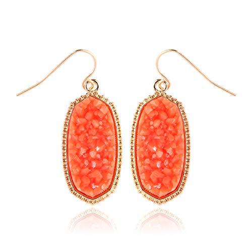 (RIAH FASHION Lightweight Acrylic Stone Druzy Crystal Delicate Earrings - Sparkly Geometric Decagon Oval Drop, Polygon Hook Dangles, Hexagon Studs (Oval Hexagon Medium - Coral))