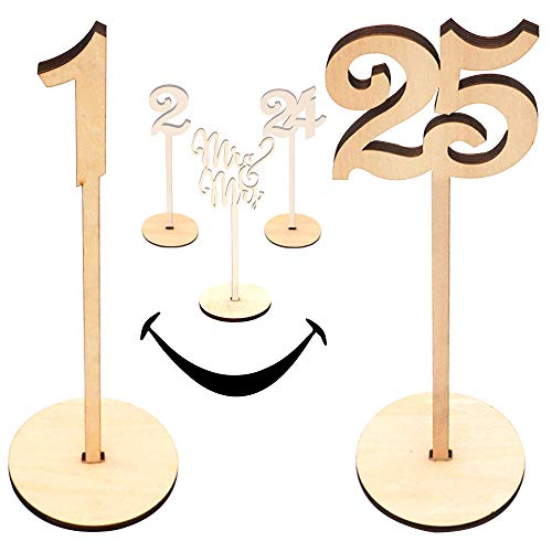 Wooden Wedding Table Numbers 1-25 Pack |...