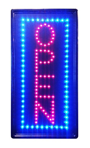 LED NEON Sign Vertical Open, Advertisement Board Electric Display Sign, Two Modes Flashing & Steady Light, for Business, Walls, Window, Shop, Bar, Hotel (Vertical Sign N100) -