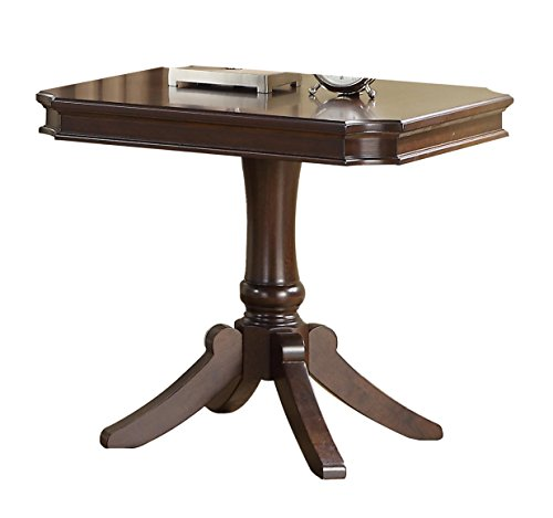 (Homelegance Marston Contemporary Rectangular End Table with Pedestal Base, Dark Cherry )