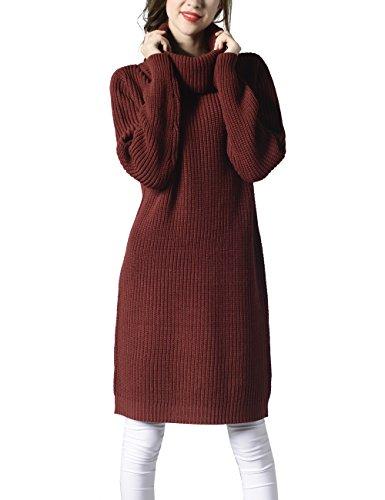 Choco Mocha Womens Knit Turtleneck Long Sweater Dress for Fall Burgundy