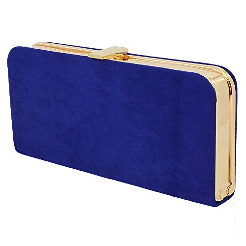 Navy Faux Suede Clutch Bag - 8