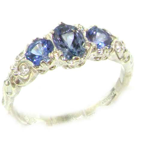 Ladies Solid Sterling Silver Natural Tanzanite English Victorian Trilogy Ring - Size 9.75 - Sizes 5 to 12 - 9k Solid Ring