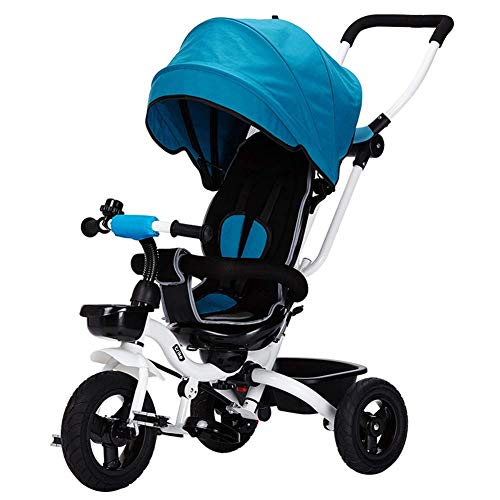 Children's Tricycle Foldable, 4 in 1 Push Rod Can Adjusted Disassembled Extended Awning Comfortable Seat Stylish Practical 6 Months - 5 Years Old (Color : Blue)