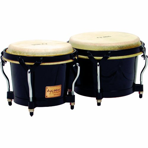 Tycoon Percussion 7 Inch & 8 1/2 Inch Supremo Series Bongos - Black Finish STB-B BK AmzFlkWor0388
