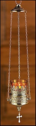 - Stratford Chapel Hanging Sanctuary Lamp with Amber Votive Glass, 19 Inch