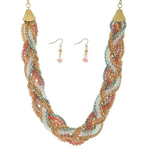 18 Peach Pink Bead Gold Silver Tone Braid Necklace 1 1/4 Dangle Earrings Set -