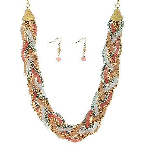 Braid Silver Earrings - 18 Peach Pink Bead Gold Silver Tone Braid Necklace 1 1/4 Dangle Earrings Set id-3083