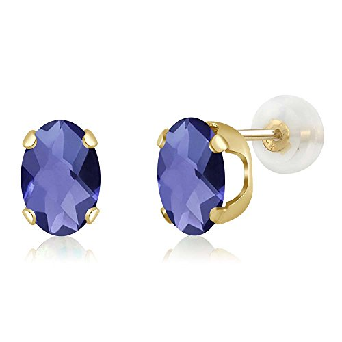 Gem Stone King 1.30 Ct Oval Checkerboard 7x5mm Blue Iolite 14K Yellow Gold Stud Earrings