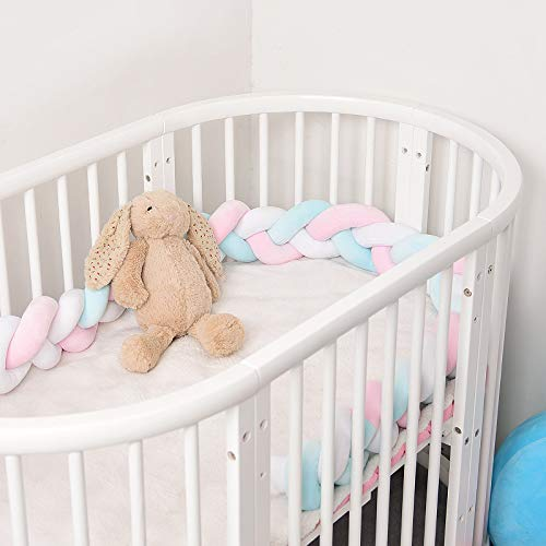 BATTILO HOME 3 Strands Baby Braided Crib Bumper Soft Snake Pillow Protective & Decorative Long Baby Nursery Bedding Cushion Knot Plush Pillow for Toddler/Newborn (Light Blue+Pink+White, 118 Inch) from BATTILO HOME