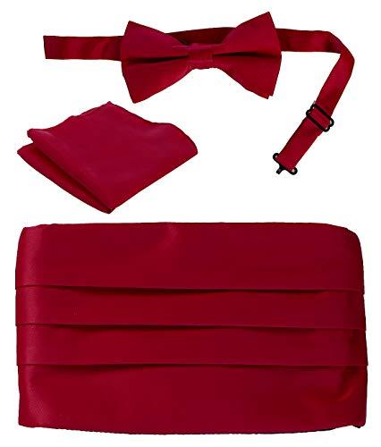 Gioberti Kids/Boys' Adjustable Satin Cummerbund Set With Formal Bow Tie and Pocket Square, Burgundy