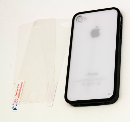 Reusable Clear Screen ((BLACK) iPhone 4S / 4 Bow Bumper Case Skin Cover ** (BOUNDLED: