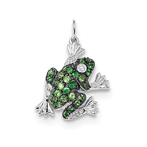 ICE CARATS 14kt White Gold Diamond Green Tsavorite Frog Pendant Charm Necklace Gemstone Fine Jewelry Ideal Gifts For Women Gift Set From (Gold Diamond Frog Charm)