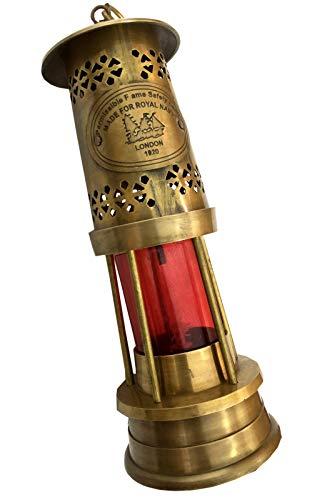 Brass Ships Lantern - Global Art World Nautical Maritime Antique Style Vintage Lamp Brass Red Glass Marine Lantern Home Décor Ship Miner Oil Lamps ML 06