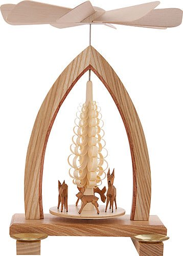 German Candle Carousel - 1-tier German Christmas Pyramid - Deer - 25cm / 10 inch - Dregeno Seiffen