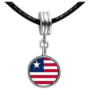 Chicforest Silver Plated Liberia flag Photo White Crystal(April Birthstone) Flower dangle Charm Beads Bracelets European Bracelets Compatible